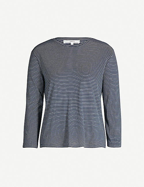 VINCE Striped cotton-jersey top