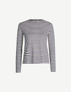 VINCE Striped silk-blend top