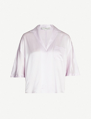 VINCE Collared V-neck oversized silk shirt