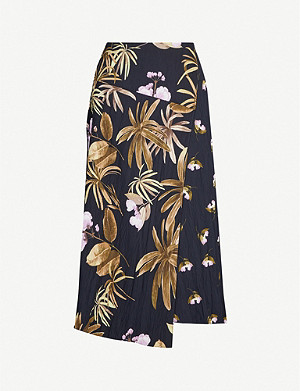 VINCE Tropical Garden crepe skirt
