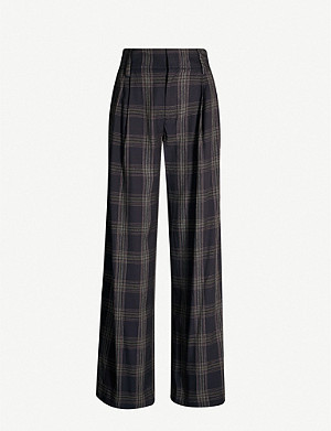 VINCE Checked wide-leg woven trousers