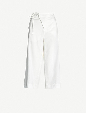 VINCE Tie-waist wide-leg cropped cotton-twill trousers