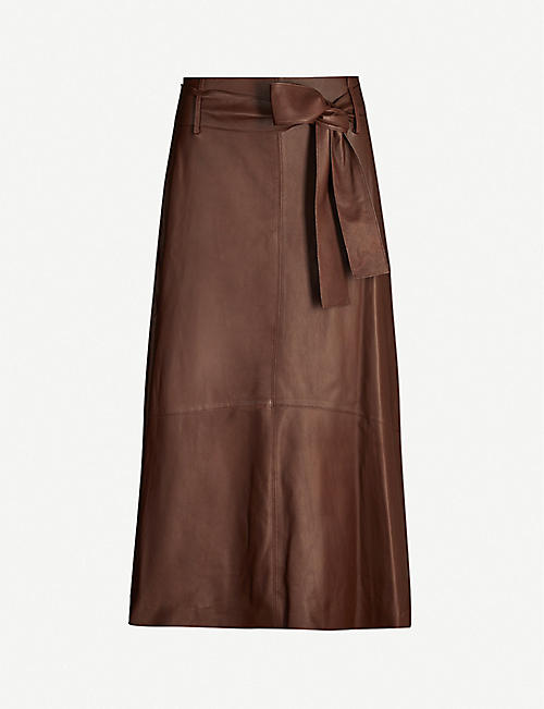 VINCE Belted A-line leather midi skirt