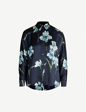 VINCE Floral-print relaxed-fit silk shirt