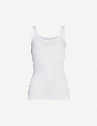 VINCE: Fitted sleeveless cotton-blend top