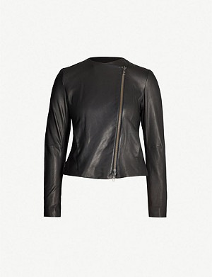VINCE Zipped leather jacket