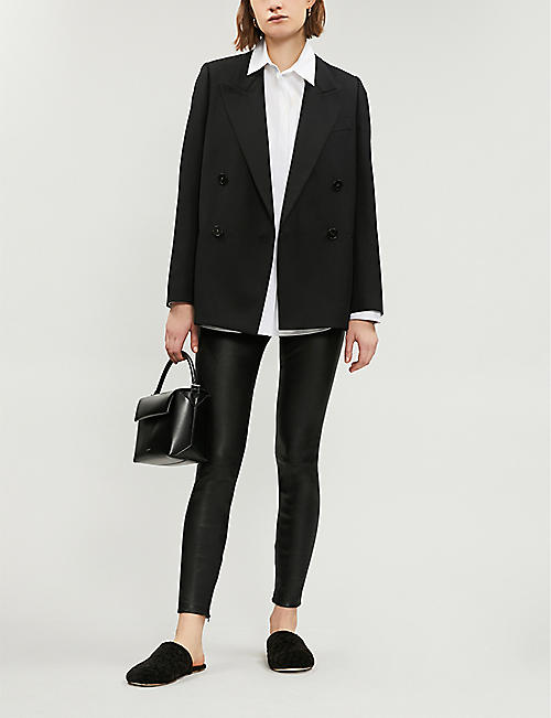VINCE Zipped-detail stretch-leather leggings