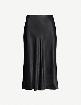 VINCE: Flared high-rise crushed satin midi skirt