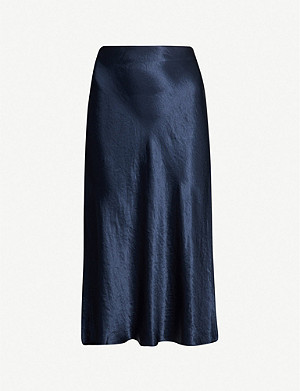 VINCE Flared high-rise crushed satin midi skirt