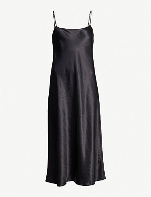 VINCE Sleeveless satin slip midi dress