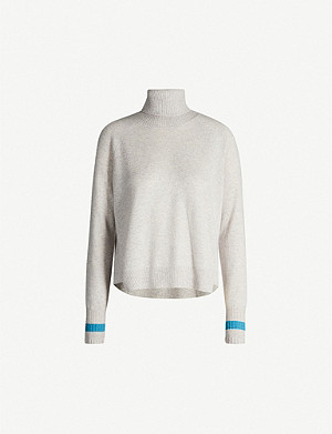 DUFFY Colour-blocked turtleneck cashmere jumper