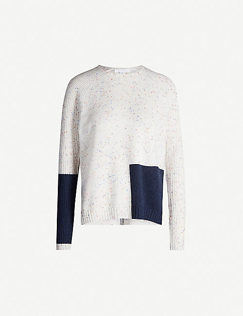 DUFFY Colour-blocked marled cashmere jumper
