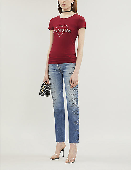 LOVE MOSCHINO Gem logo-embroidered cotton-jersey T-shirt