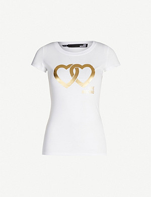 LOVE MOSCHINO Metallic graphic-print cotton-jersey T-shirt