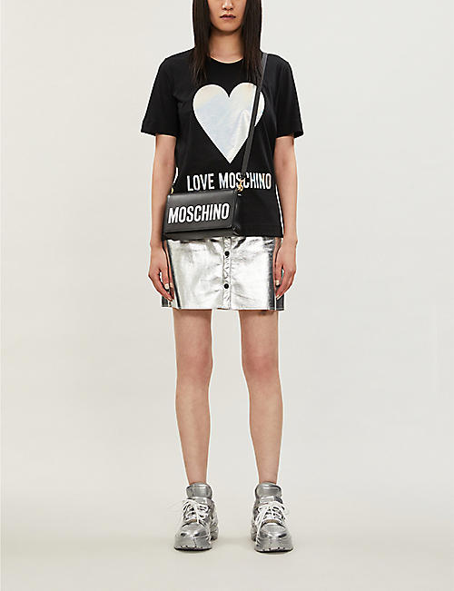 LOVE MOSCHINO Metallic heart-print cotton-jersey T-shirt