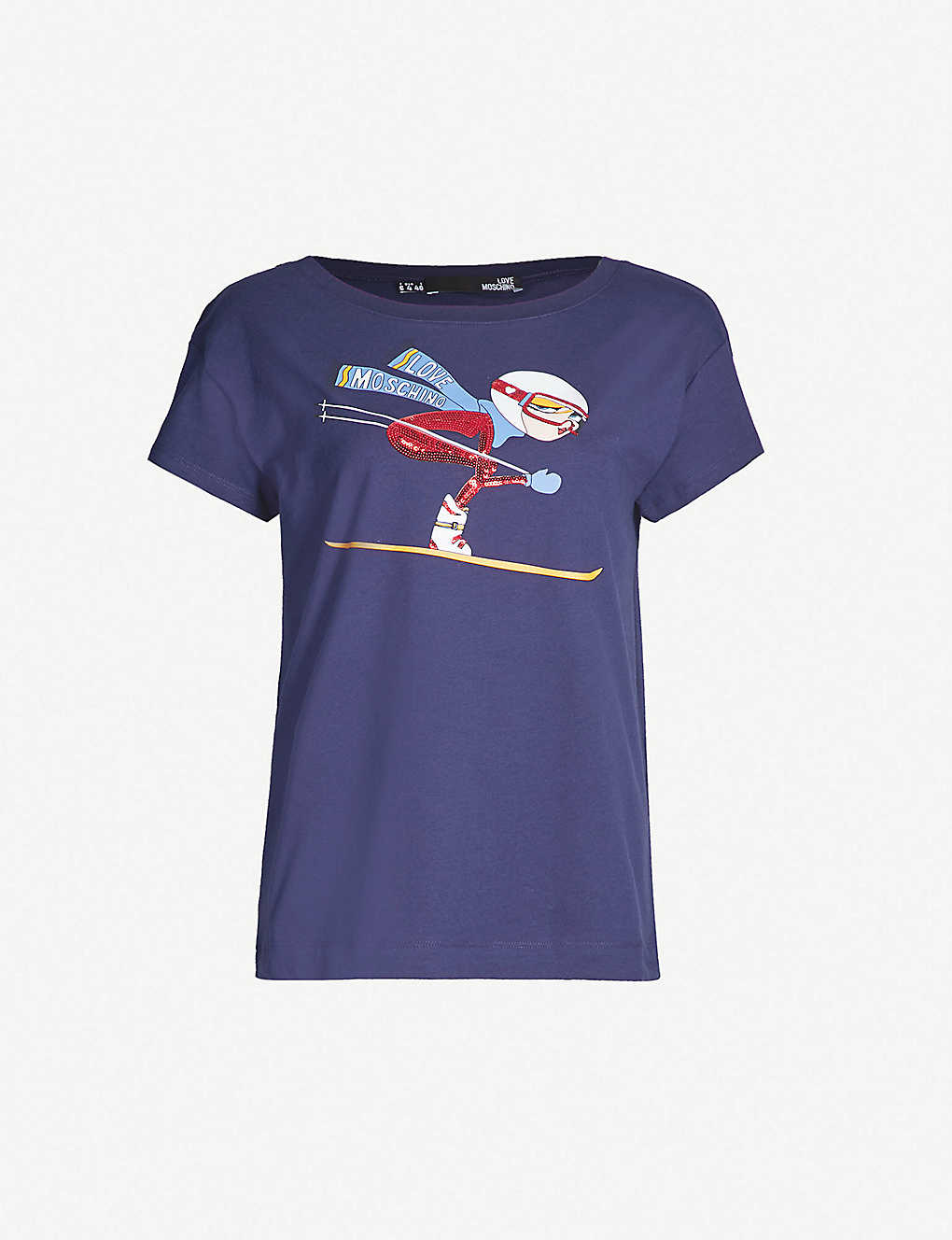 3b5bc513d7 LOVE MOSCHINO - Ski-print stretch-cotton T-shirt   Selfridges.com