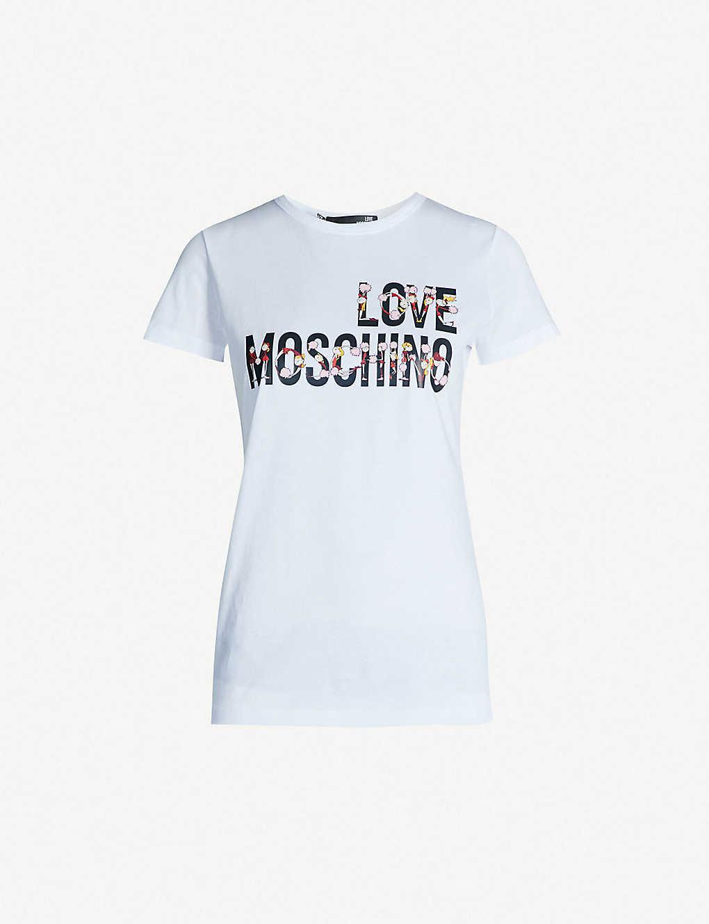9ee4cc32e1218 LOVE MOSCHINO - Cheerleader logo-print cotton-jersey T-shirt ...