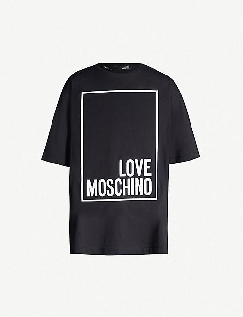 39d40af5a58411 LOVE MOSCHINO Logo-print cotton-jersey T-shirt