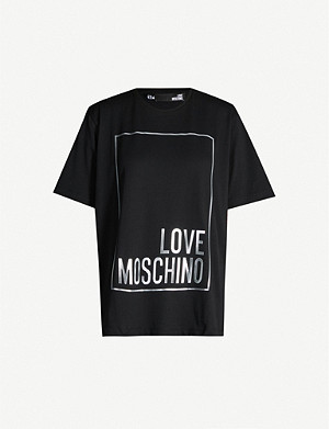 LOVE MOSCHINO Lamé logo-print cotton-jersey T-shirt