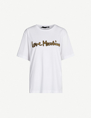 LOVE MOSCHINO Calligraphy brand-appliqu? cotton-jersey T-shirt
