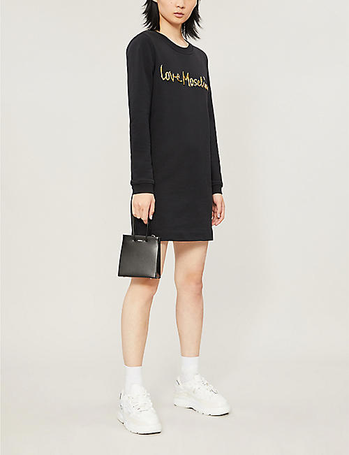LOVE MOSCHINO Logo-embellished cotton-jersey sweatshirt dress