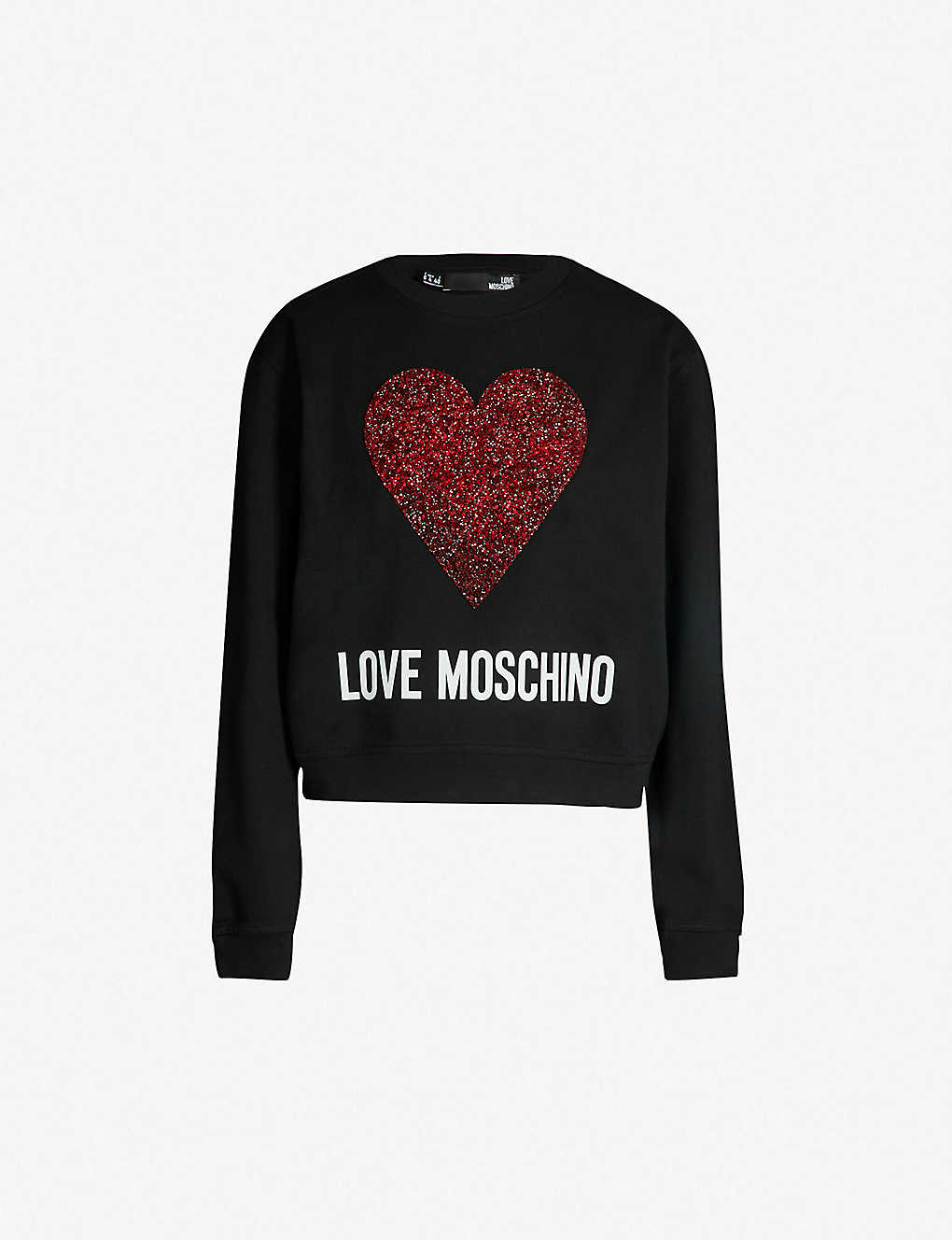 62c71933 LOVE MOSCHINO - Embellished-heart logo-print cotton-jersey ...