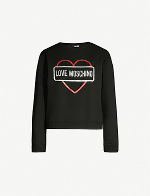 LOVE MOSCHINO Glitter-logo cotton-jersey sweatshirt