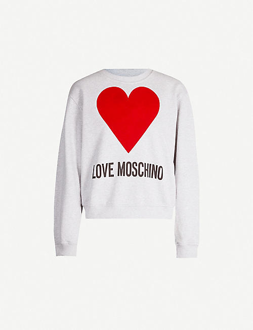 LOVE MOSCHINO Heart-print cotton-jersey sweatshirt