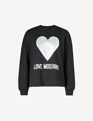 LOVE MOSCHINO Metallic heart-print cotton-jersey sweatshirt