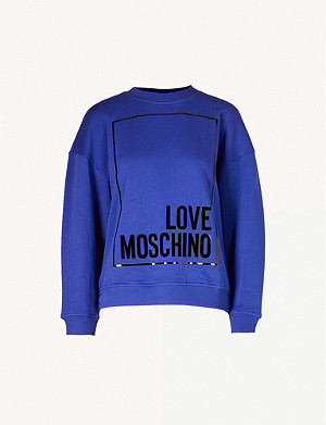 LOVE MOSCHINO Cropped metallic logo-print cotton-jersey sweatshirt