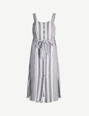 RAILS Clement striped waist-tie linen-blend dress