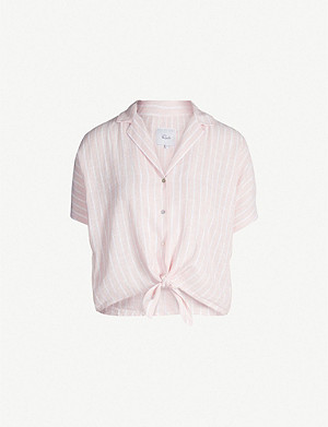 RAILS Tie-waist striped linen-blend shirt