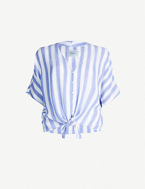 RAILS Thea Pacifica Stripe-print rayon and linen-blend T-shirt