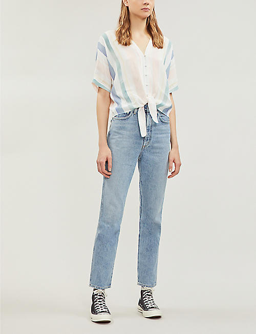 RAILS Thea striped buttoned-down woven shirt