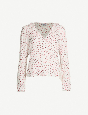 RAILS Simone frilled heart-print wrap-front shirt