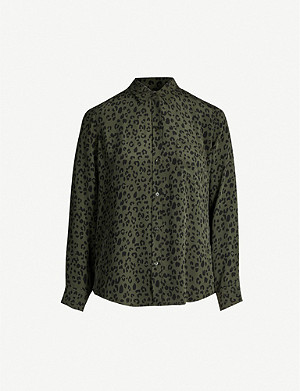 RAILS Kate leopard-print silk shirt