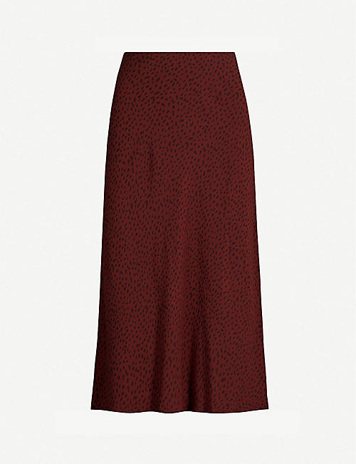 RAILS London leopard-print crepe midi skirt