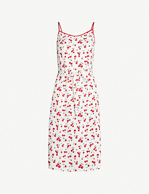 HVN Susan cotton-blend slip dress