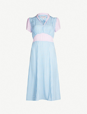 HVN Morgan gingham-print silk midi dress