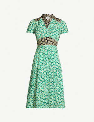 HVN Morgan floral-print silk midi dress