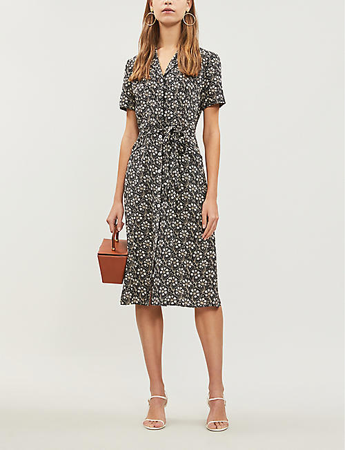 HVN Maria buttoned-down silk dress