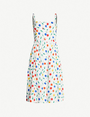HVN Laura cherry-print cotton-blend midi dress