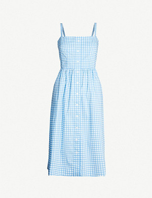 HVN Laura gingham cotton-blend midi dress