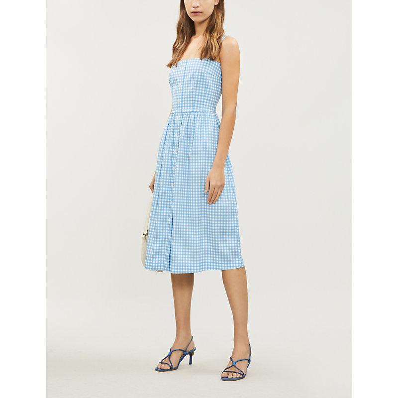 Hvn Laura gingham cotton-blend midi dress