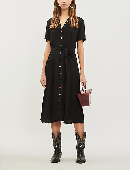 HVN Maria fruit-embroidered woven dress
