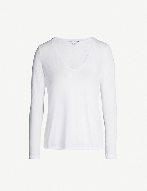 0019be44622 JAMES PERSE Heather V-neck semi-sheer cotton-jersey T-shirt