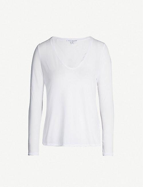 6e2ddb2db8b JAMES PERSE Heather V-neck semi-sheer cotton-jersey T-shirt