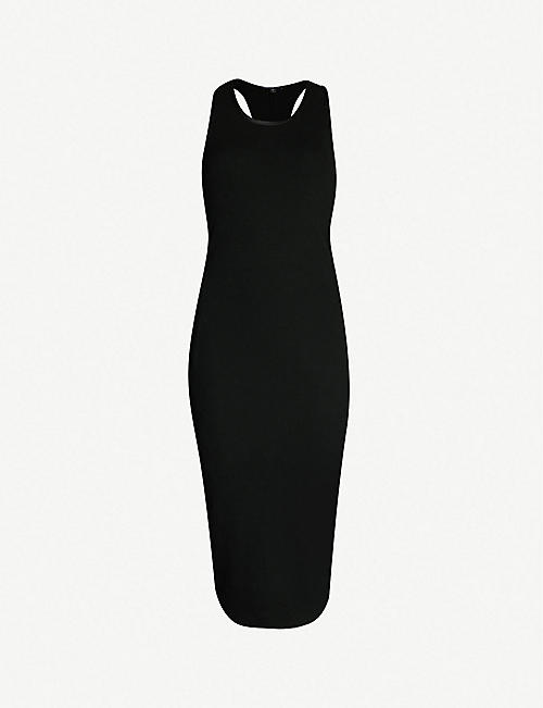 JAMES PERSE Satin-trim ribbed cotton knitted dress
