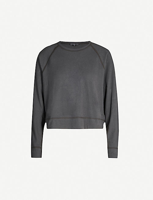 JAMES PERSE Boat-neck loose-fit cotton-blend sweatshirt