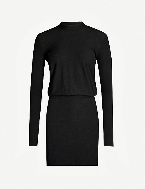 JAMES PERSE Blouson-sleeves bodycon stretch-jersey midi dress
